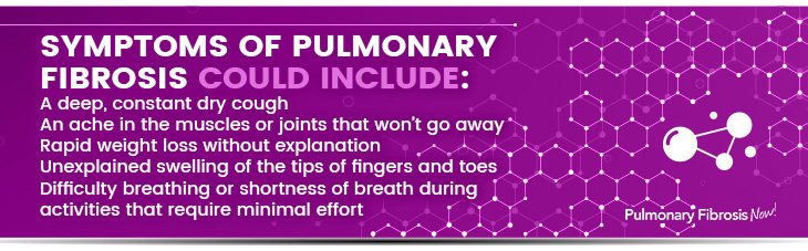Symptoms of Pulmonary Fibrosis could include quote